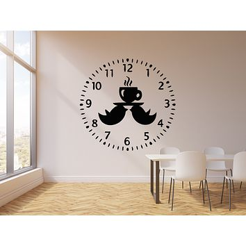 Vinyl Wall Decal Clock Birds Time To Drink Tea Kitchen Decor Stickers Mural (g744)