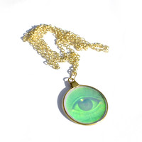 Vintage 90s holographic eye necklaces