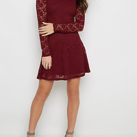 Burgundy Lace Long Sleeve Skater Dress