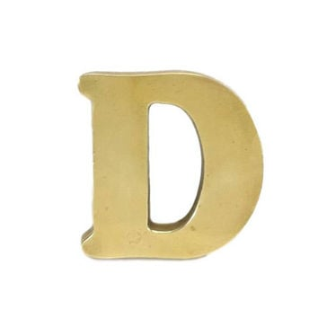 Solid Brass Letter D Metal Alphabet Initials Gold Monogram Capital Letters Door Wall Decor Craft Altered Art Mixed Media Supply Salvage