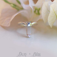 Natural Crystal Ring Crystal Quartz Ring Natural Stone Jewelry Personalized Ring, Sterling Silver Rings for Women