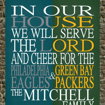 A House Divided - Customized Philadelphia Eagles & Green Bay Packers personalized family poster Christian gift sports art - multiple sizes