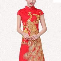 Lolita Peacock Pattern Cheongsam Dress - Gold or Red - S M L XL from Tobi's Finds