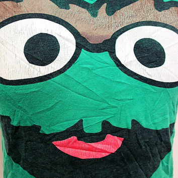 Retro Green Oscar The Grouch Face T-shirt Small
