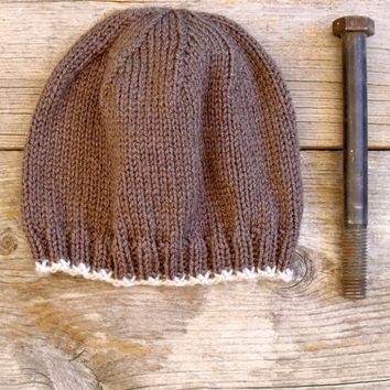 SALE 25% OFF - Men's Basic Beanie in Taupe Brown with Off White Edging