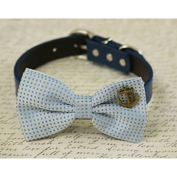 French Blue Dog Bow tie collar, beach wedding, French blue wedding, Anchor