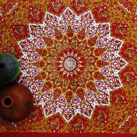 Mandala Blanket - Red and Gold Elephants