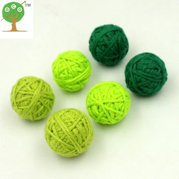 12pcs fade green crochet voodoo ball bead cotton yard pattern diy chunky handmade christmas decoration statement 25MM 30MM EA171