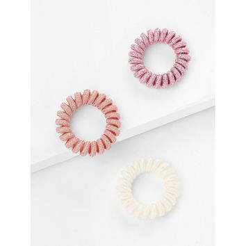 Three Color Elastic Hair Tie 3pcs