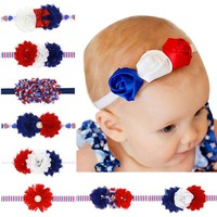 VONE2B5 American Flag Headband Red white Blue Headbands USA Hair Band Bandeau July 4th Fashion Accessory Baby Girl Hairbow 1pc HB534