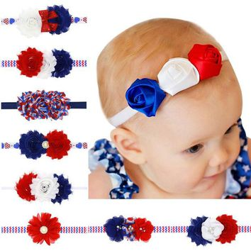 DCK9M2 American Flag Headband Red white Blue Headbands USA Hair Band Bandeau July 4th Fashion Accessory Baby Girl Hairbow 1pc HB534