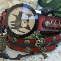 Red Leather wrap watch, Steampunk, Hippie, Bohemian, Womens wrist watch with charms, vintage style bracelet watch