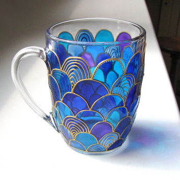 Glass Mermaid Mug, Hand Painted Mug, Coffee Mug, Tea Cup, Painted Coffee Mug, Mermaid Design, Coffee Mug Gift