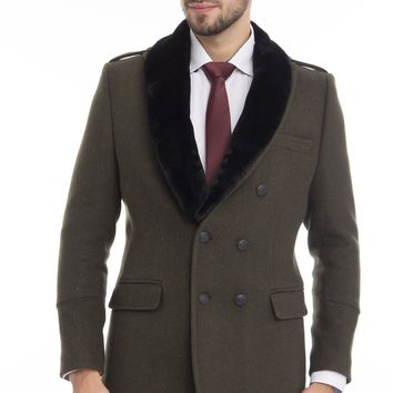 DOUBLE BREASTED BOUCLE PEA COAT WITH FAUX FUR COLLAR - KHAKI