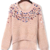 Pink Ripped Slit Back Fluffy Sequined Knit Jumper