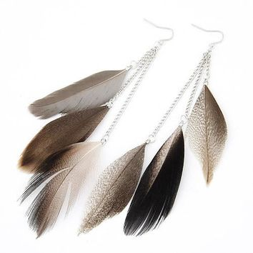 Indian Jewelry Boho Earrings Colorful Long Feather Tassel Drop