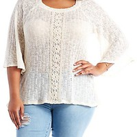 PLUS SIZE CROCHET TRIM TEXTURED KNIT TOP
