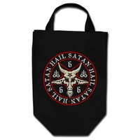 Hail Satan Baphomet Goat in Pentagram Grocery Tote Bag