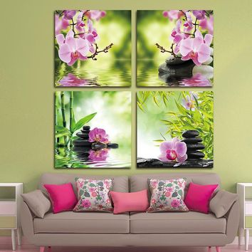 Zen Orchid Garden Canvas Modern Wall Art 4 Piece