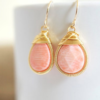 Coral Earrings - Wire Wrapped Earrings - Bezel Set Earrings
