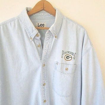 Vintage 90s GREEN BAY PACKERS Football Embroidered  Chambray Denim Button Down Shirt Sz 2XL