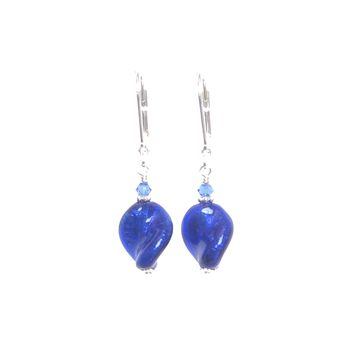 Cobalt Blue Murano Glass Twist Sterling Silver Earrings