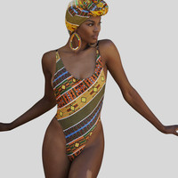 New African Print One Pieces Swimwear Bath Suits Sexy Geometric  Swimsuit