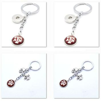 2017 New Football Keychain NCAA Texas A&M Aggies Charm Key Chain Car Keyring for Women Men Party Birthday Keyrings Gifts
