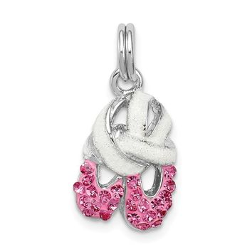 925 Sterling Silver Rhodium-Plated Pink Cubic Zirconia Enamel Ballet Slipper Charm and Pendant
