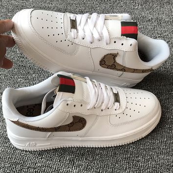 GUCCI  Nike Air Force 1 Men and women casual shoes lovers shoes