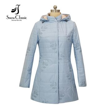 Snow Classic 2017 new women jacket spring  thin women quilted coat  With Hood parkas Women's Fashion parka coat and jacket 17308