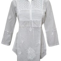 Mogul Interior Womens Indian Tunic Shirt Hand Floral Embroidered Top Blouse Beach Cover up