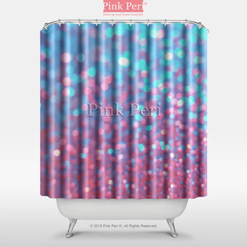 Pink and Blue Sparkle Glitter Shower Curtain Home & Living Bathroom 043