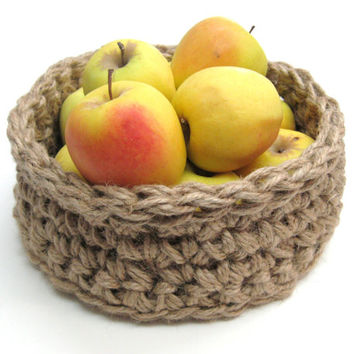 Jute Basket - Crochet Basket - Fruit & Vegetable Storage - Primitive Decor - Rustic Display - Centerpiece - Earth Friendly - Natural Basket