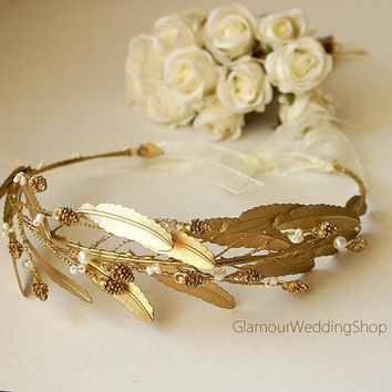 Gold Leaves Headband  Gold Leaf Bridal Headband Gold Tiara Gold Grecian Wedding Crown Gold Headpiece