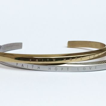 Faith Hope Love Engraved Bracelets