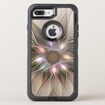 Joyful Flower Abstract Beige Brown Floral Fractal OtterBox Defender iPhone 8 Plus/7 Plus Case