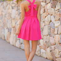 Going Places Bow Back Dress - Fuchsia