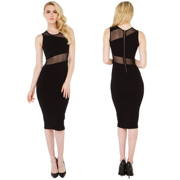 Black Sleeveless Bodycon Mid Dress with Mesh Chest and Waist