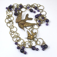 Amethyst Bead Swallow Bird Necklace Belt, Hammered Brass Circle Links Figural Bird Charms, BoHo Chic Jewelry 36 Inches Long