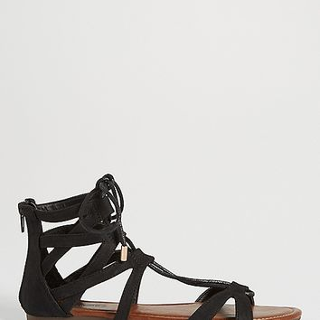 berkley lace up gladiator sandal in black | maurices