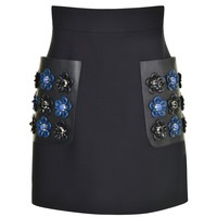 Leather Floral Skirt