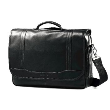 "Samsonite Leather Flapover Briefcase with 15.6"" Laptop Pocket"