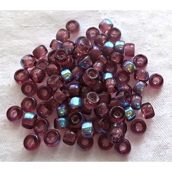 Lot of 50 6mm Czech glass pony beads - Transparent Amethyst, Purple AB pony roller beads - large hole purple AB beads, C7450