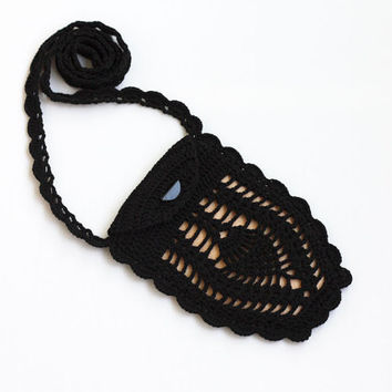 Crochet mini bag Black beige phone case with crossbody strap Cell phone purse Boho chic Bohemian accessory