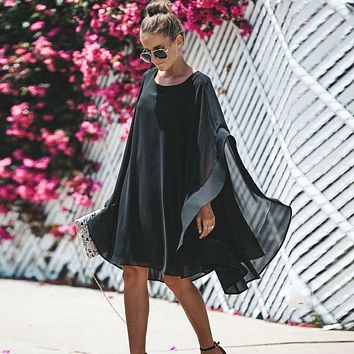 Shirt Dress Sexy Women Bohemian Cloak Sleeves Black Chiffon Asymmetry Dresses Party Beach Fall Dress Women's Clothing