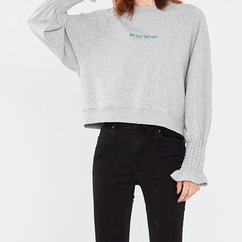 Gray Letter Print Long Sleeve Sweatshirt