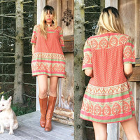 Vintage 1970's INDIAN Mini Cotton Babydoll Dress With Pockets || Bohemian Mini Dress Or Tunic || Size Small Medium
