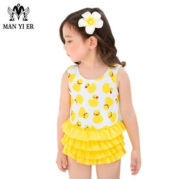 MANYIER Children New Summer Swimming one Piece Baby Girls Bathing Suit with Cap Small Yellow Duck Swimwear for Kid Girls
