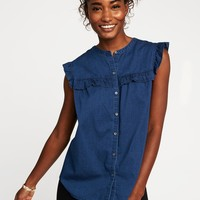 Relaxed Ruffle-Trim Chambray Shirt for Women | Old Navy